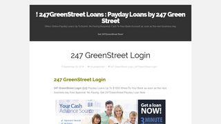 247 GreenStreet Login | ! 247GreenStreet Loans : Payday Loans by ...