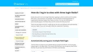 How do I log in to sites with three login fields? – Dashlane