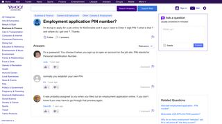 employment application PIN number? | Yahoo Answers