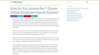 How Do You Access the 7-Eleven Online Employee Payroll System ...