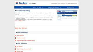 Academy Sports + Outdoors Visa Card - About Online Banking