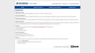 Academy Sports + Outdoors Visa Card | Contact Us