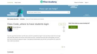 Class Code_where to have students login – Khan Academy Help Center