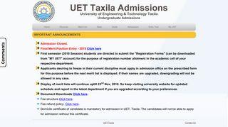 UET Taxila UG Admissions