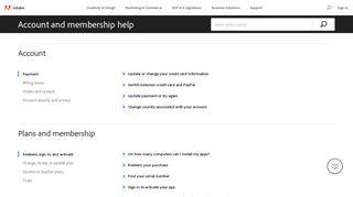 Account and membership help - Adobe Help Center