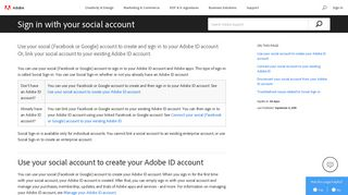 Sign in to your Adobe ID account with your Facebook or Google ...