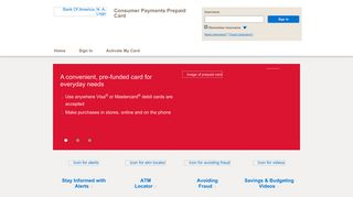 Consumer Payments Prepaid Card - Home Page - Bank of America