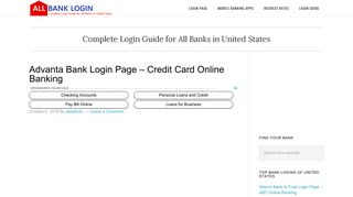 Advanta Bank Login Page – Credit Card Online Banking - All Bank Login