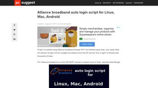 Alliance broadband auto login script for Linux, Mac, Android - PCsuggest