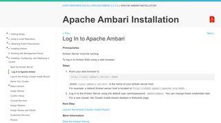 Log In to Apache Ambari - Hortonworks Data Platform