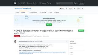HDP2.5 Sandbox docker image: default password doesn't work. - GitHub