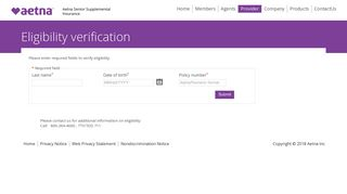Provider Eligibility Verification - Aetna Senior Products