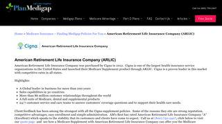American Retirement Life Insurance Supplement   Plan Medigap