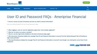 User ID and Password FAQs | RiverSource