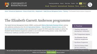 The Elizabeth Garrett Anderson programme - University of Birmingham