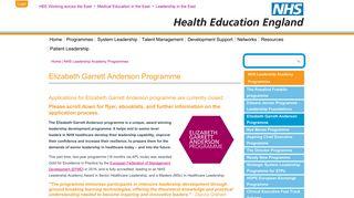 Elizabeth Garrett Anderson Programme   Health Education England