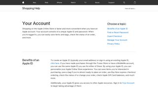 Your Account - Shopping Help - Apple (CA)