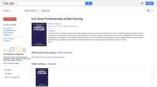 U.S. Navy Fundamentals of War Gaming