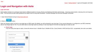 Login and Navigation with Asite - Asite Upload Server