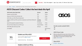 ASOS Discount Codes | £30 off this February | The Independent
