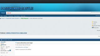 www.atkexotics.com/login - Passwords Castle