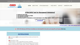 ATMA -::- AIMS Test for Management Admissions :: MBA Entrance ...