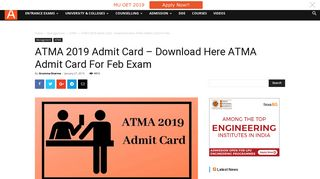 ATMA 2019 Admit Card - Download Here ATMA Admit Card For Feb ...