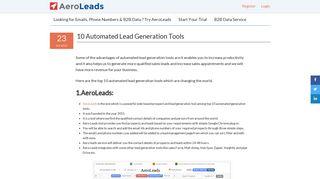 10 Automated Lead Generation Tools - AeroLeads