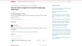 How to write a negative test case for a login page with steps - Quora