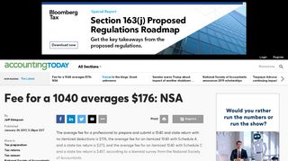 Fee for a 1040 averages $176: NSA   Accounting Today