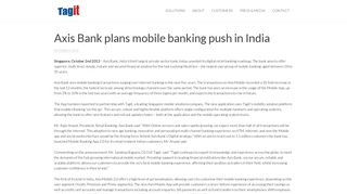 Axis Bank plans mobile banking push in India - Tagit Pte Ltd