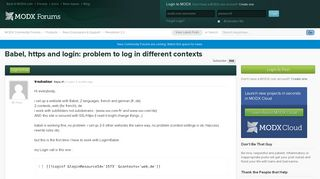 Babel, https and login: problem to log in different contexts ...