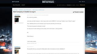 Bad Company 2 Unable to Log in - Battlelog - Battlefield