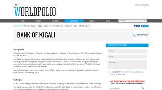 Bank of Kigali - The Worldfolio