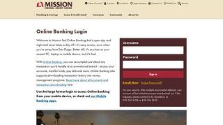 Online Banking Login | Mission Federal Credit Union, San Diego