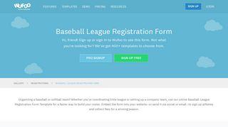 Baseball League Registration Form   Wufoo