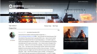 HTTP Login or FREE Battlefield 4 Accounts for Life - Answer HQ