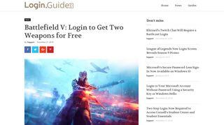 Battlefield V: Login to Get Two Weapons for Free – Login.Guide