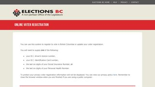 Elections BC – Online Voter Registration