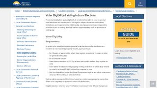 Voter Eligibility & Voting in Local Elections - Province of British Columbia