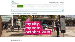 2018 municipal election   City of Vancouver
