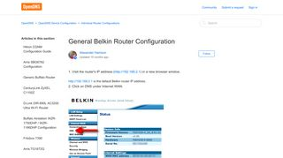General Belkin Router Configuration – OpenDNS