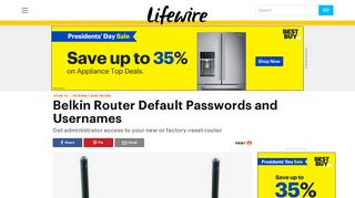 Need the Default Password for a Belkin Router? - Lifewire