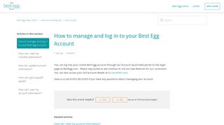 How to manage and log in to your Best Egg Account – Best Egg Help ...