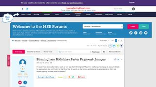 Birmingham Midshires Faster Payment changes - MoneySavingExpert ...