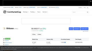 Bitbase (BTBc) price, charts, market cap, and other metrics ...