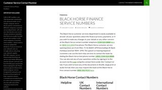 Black Horse Customer Service Contact Number: 0800 151 2454 Free