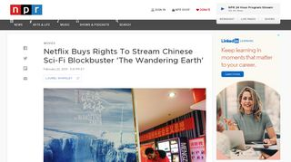 Netflix Buys Rights To Stream Chinese Sci-Fi Blockbuster 'The ... - NPR