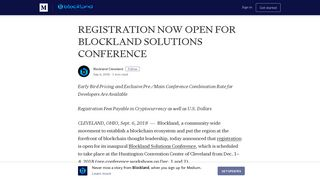 registration now open for blockland solutions conference - Medium