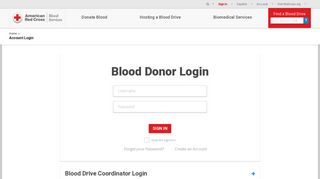 Account Login | American Red Cross Blood Services